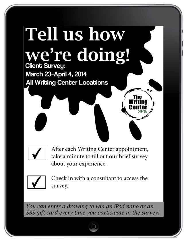 Writing Center Spring Survey Flyer
