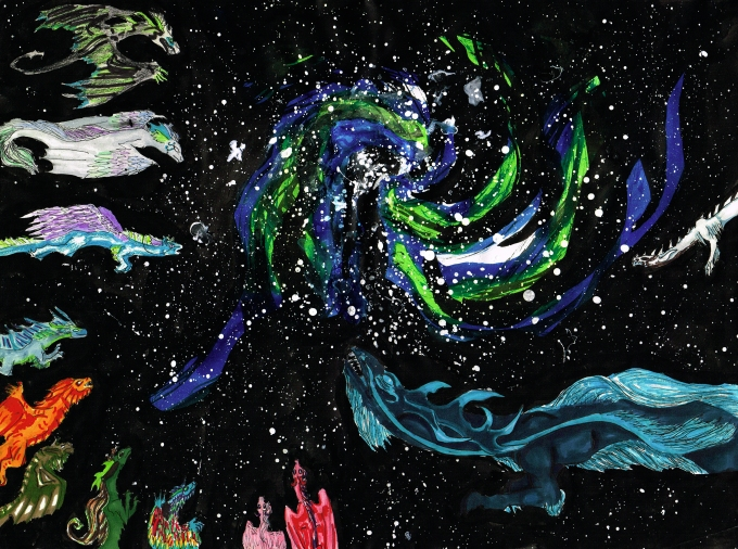 Original Artwork. Image shows twelve dragons flying through space towards a spinning galaxy. Art is mixed media, ink, copic, and watercolor, and is stylized.
