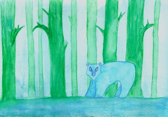 Image shows a watercolor art piece that features a stylized background of green trees in blue mist, with a blue forest floor, and a stylized blue bear with an angular face.