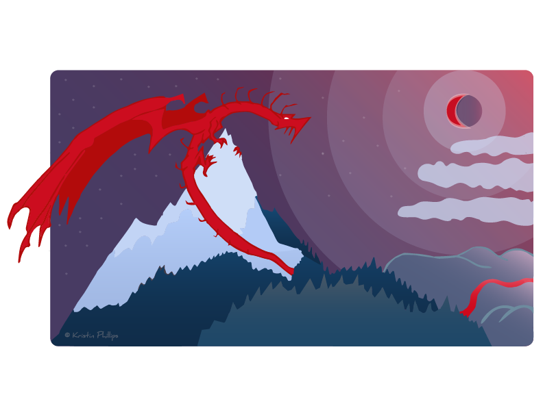 Image: Artwork depicting a red dragon perching on top of a mountain. Art work is stylized with a minimal color palette of reds, blues, and purples.