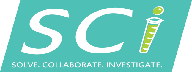 "Logo for SCI. Image: A teal square, slanted to the right, spells out ""SCI: Solve. Collaborate. Investigate"" in italic letters. The I in SCI is a green test tube."