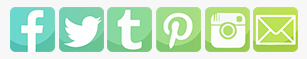 Social Media Icons. Image shows six social media icons in a row. Each is a rounded square, and the gradient across all of them ranges from teal to green. Social media are as follows, left to right: Facebook, Twitter, tumblr, Pinterest, Instagram, Email.