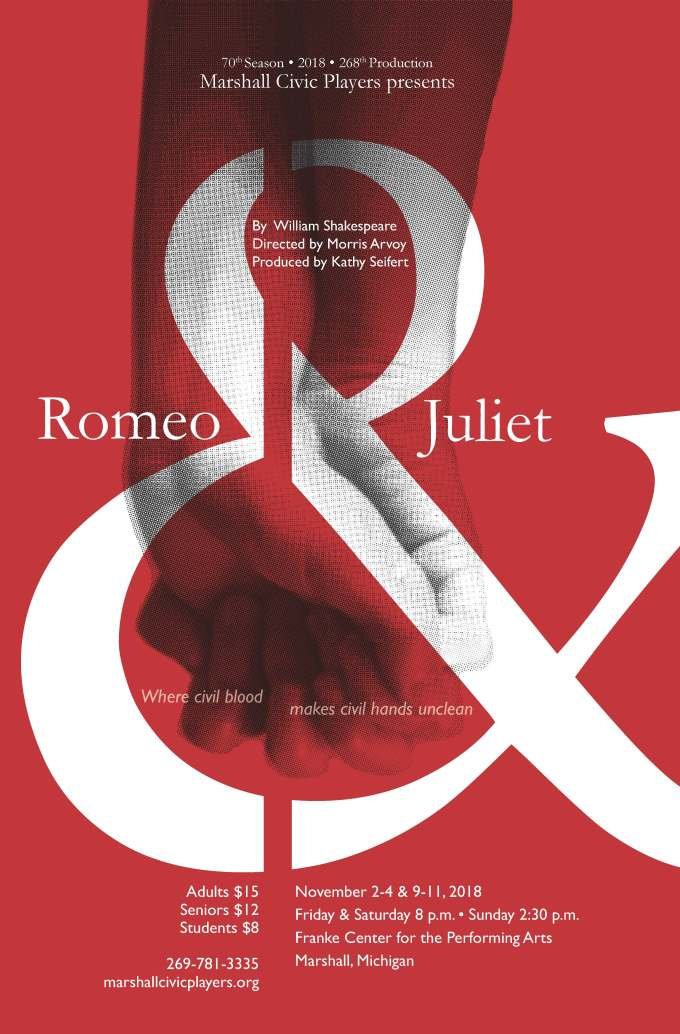 Romeo and Juliet poster in red, showing two hands grasped together overlaid with an ampersand.